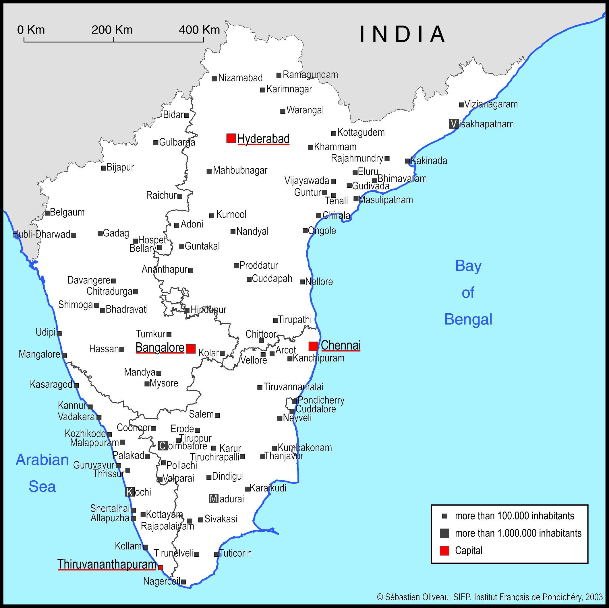 Carte Inde Principales Villes.Carte De L Inde Du Sud Avec Les Principales Villes Du Sud De