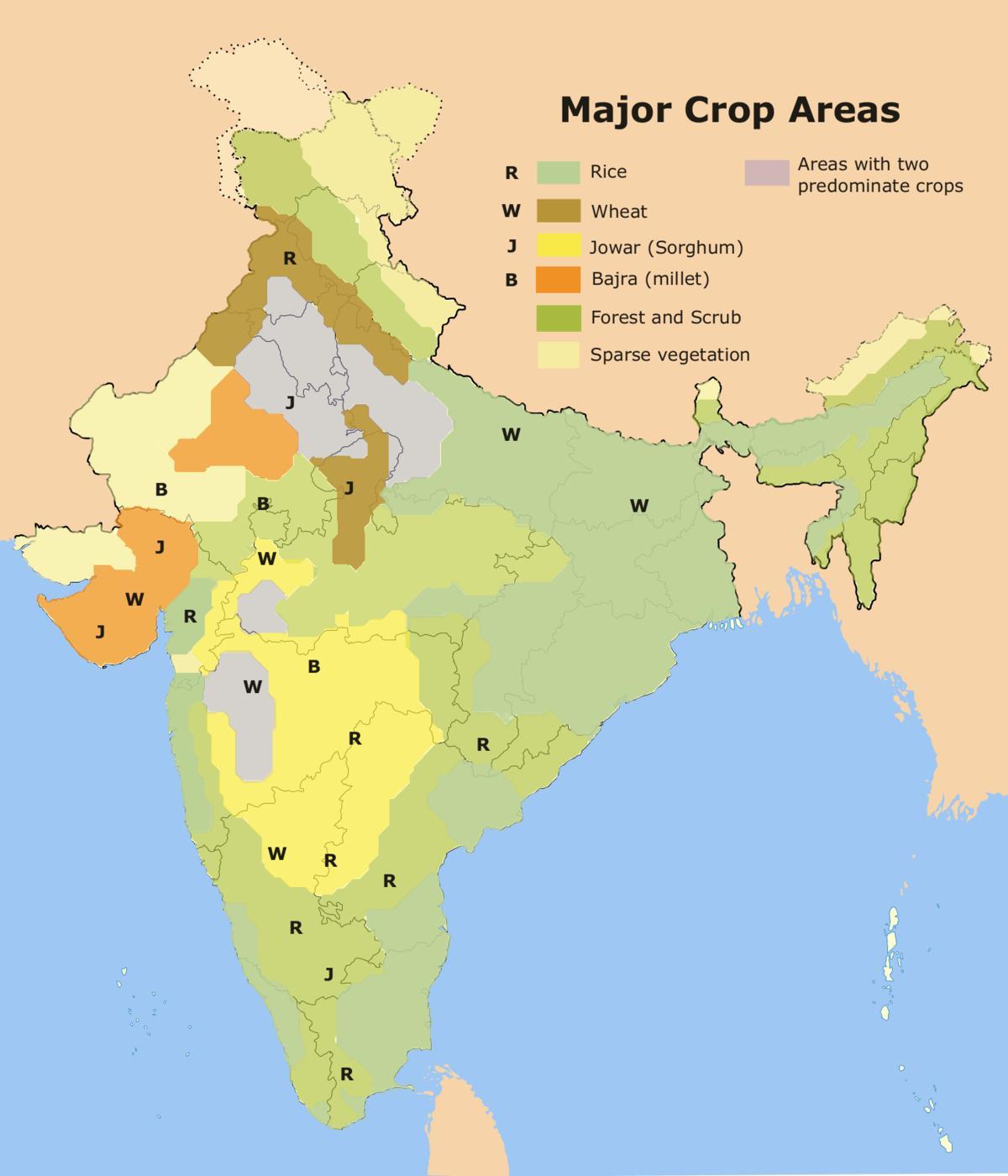 Carte Inde Agriculture.L Agriculture De La Carte De L Inde La Carte De L