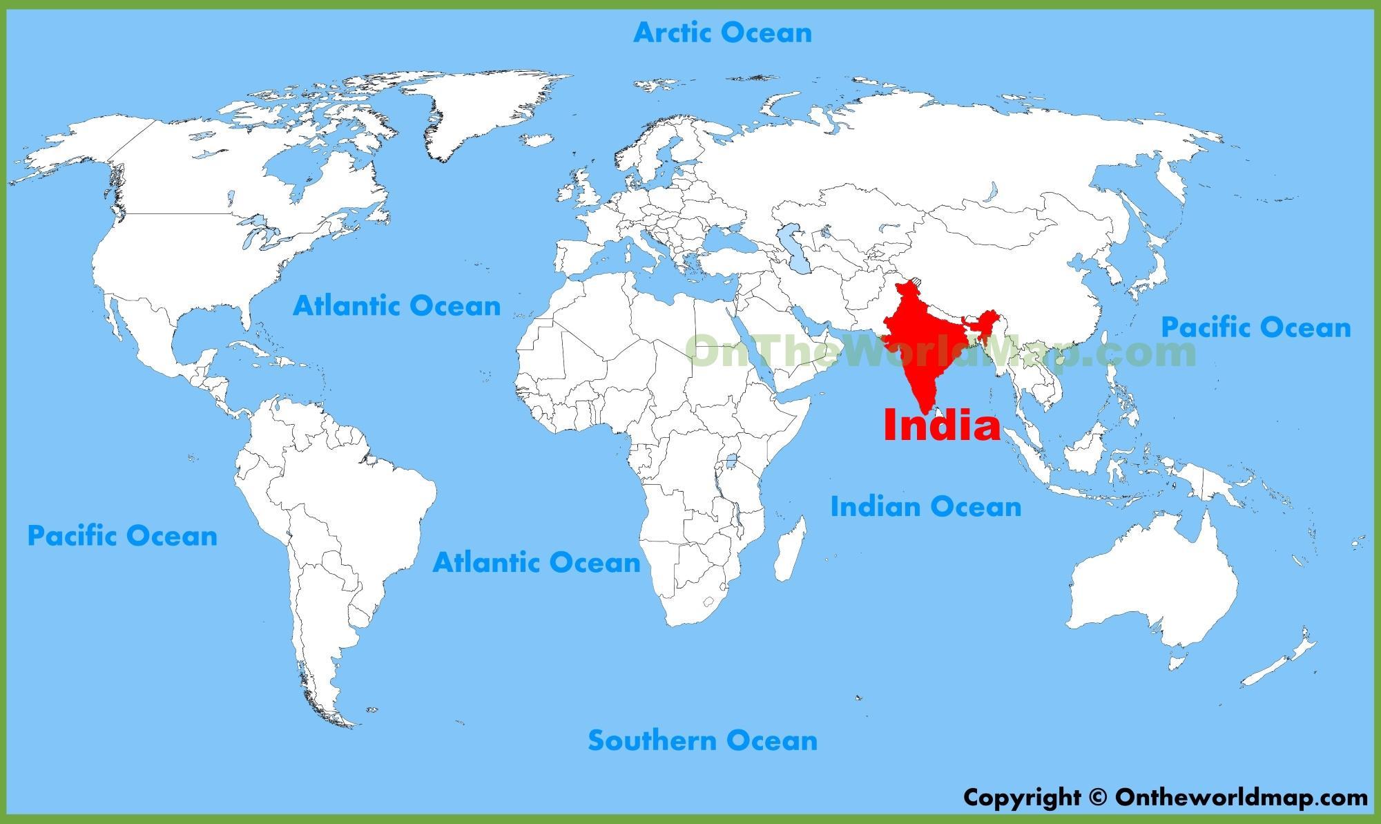 carte du monde inde L'inde sur la carte du monde   l'Inde carte du monde (Asie du Sud