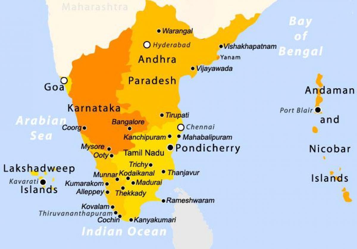 Carte De Linde Du Sud Cochin.Le Sud De L Inde Carte Sud Carte De L Inde Asie Du Sud