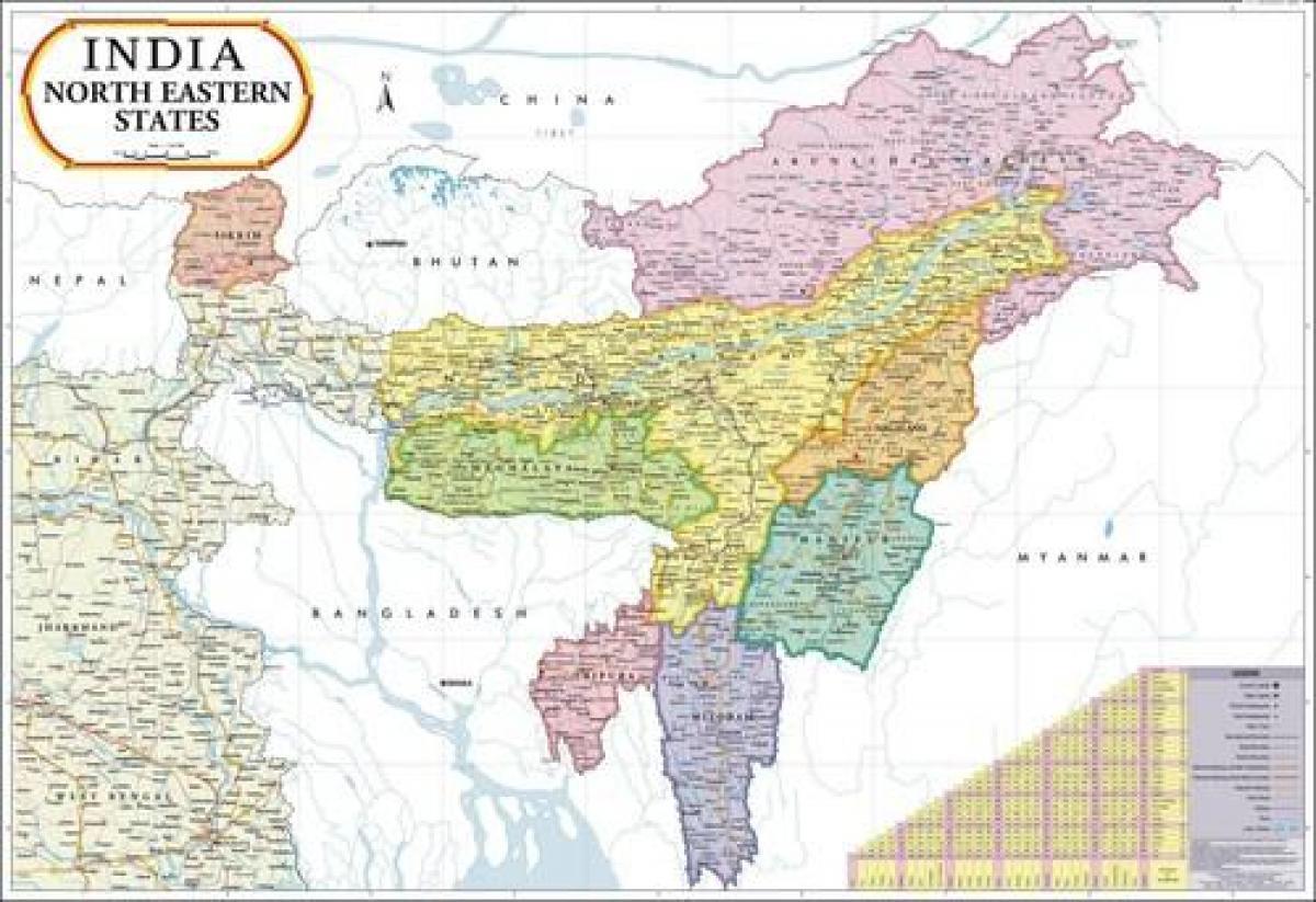 Carte Du Sud Est De Linde.Carte Du Nord Est De L Inde Nord Est De La Carte De L Inde Asie