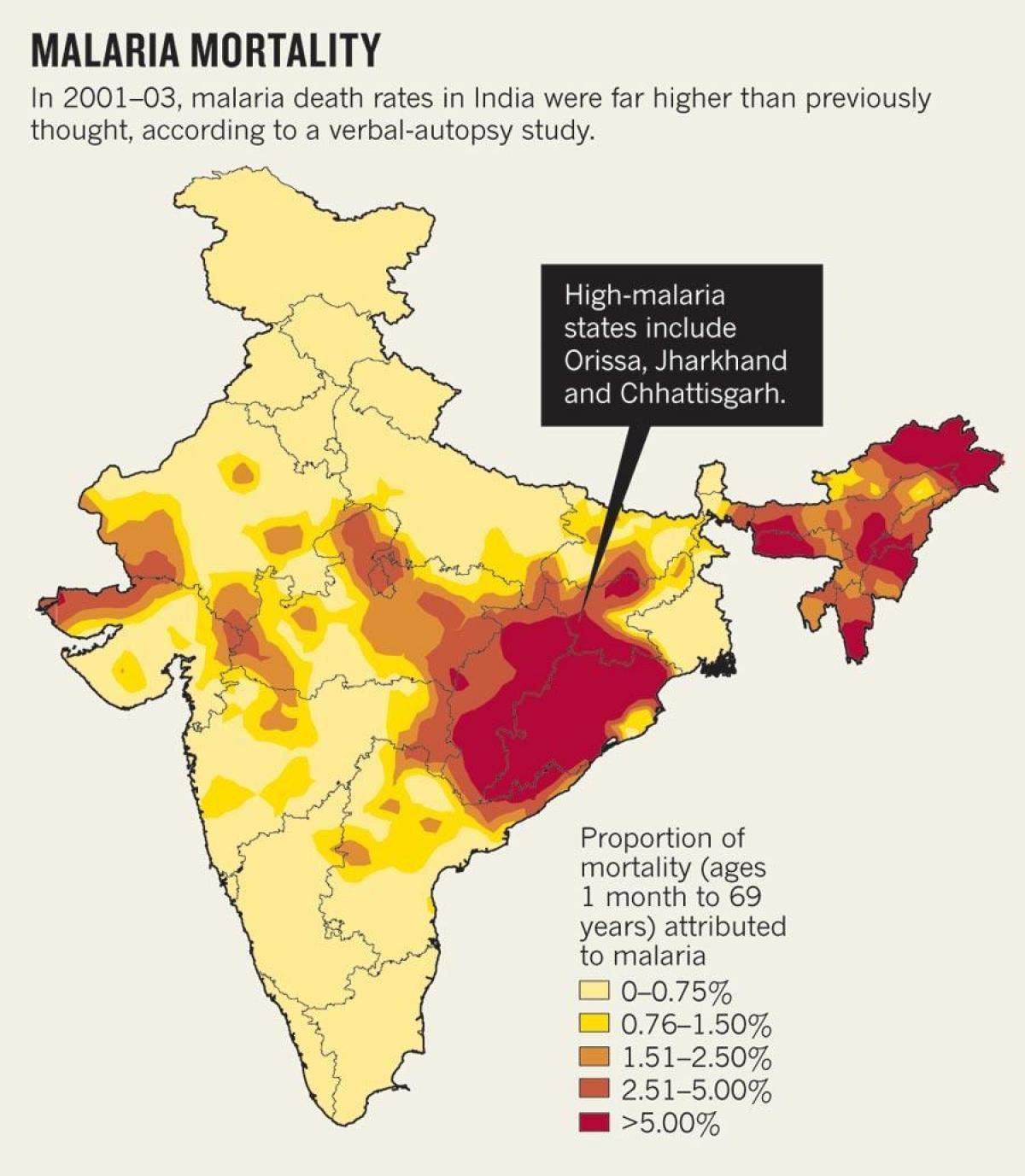 Carte Paludisme Inde.L Inde Paludisme Carte Carte De L Inde Du Paludisme Asie