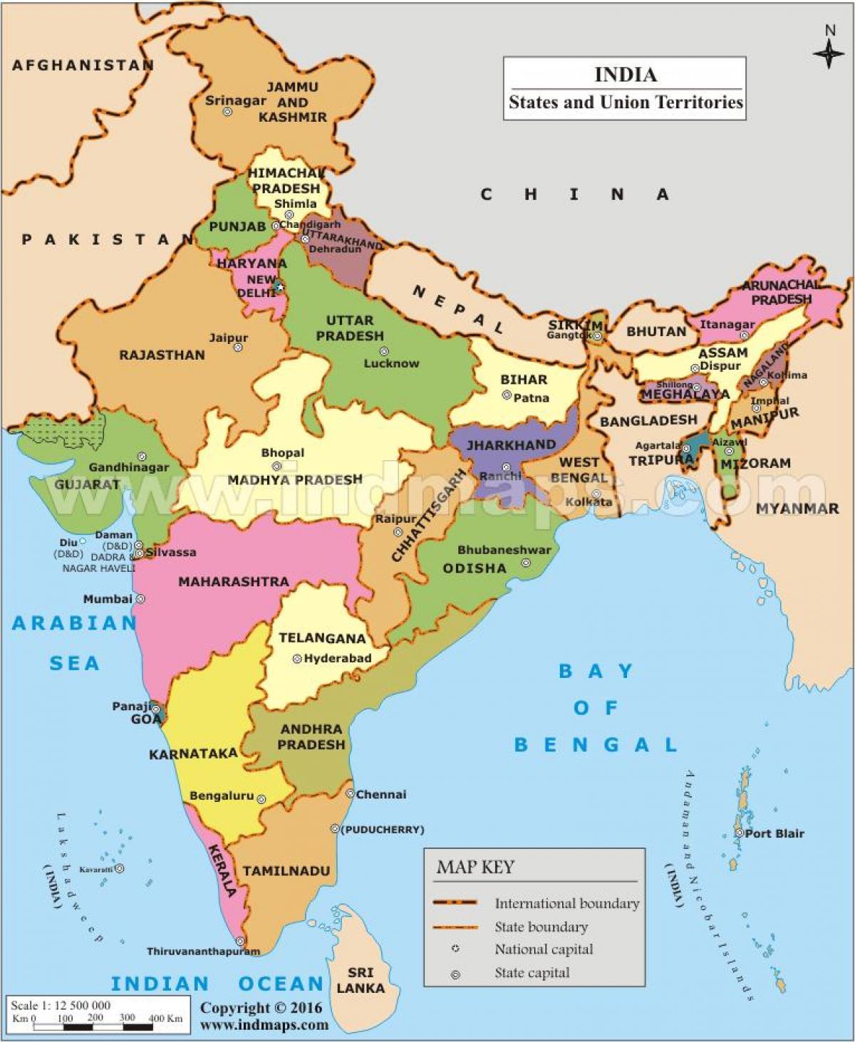 Carte Asie Inde.L Inde Carte D Etat Carte D Etat De L Inde Asie Du Sud