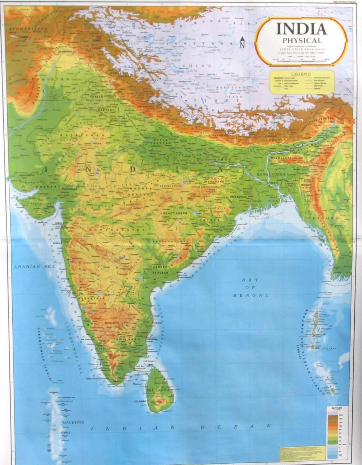 Carte Inde Relief.L Inde Le Relief La Carte Carte De L Inde Relief Asie