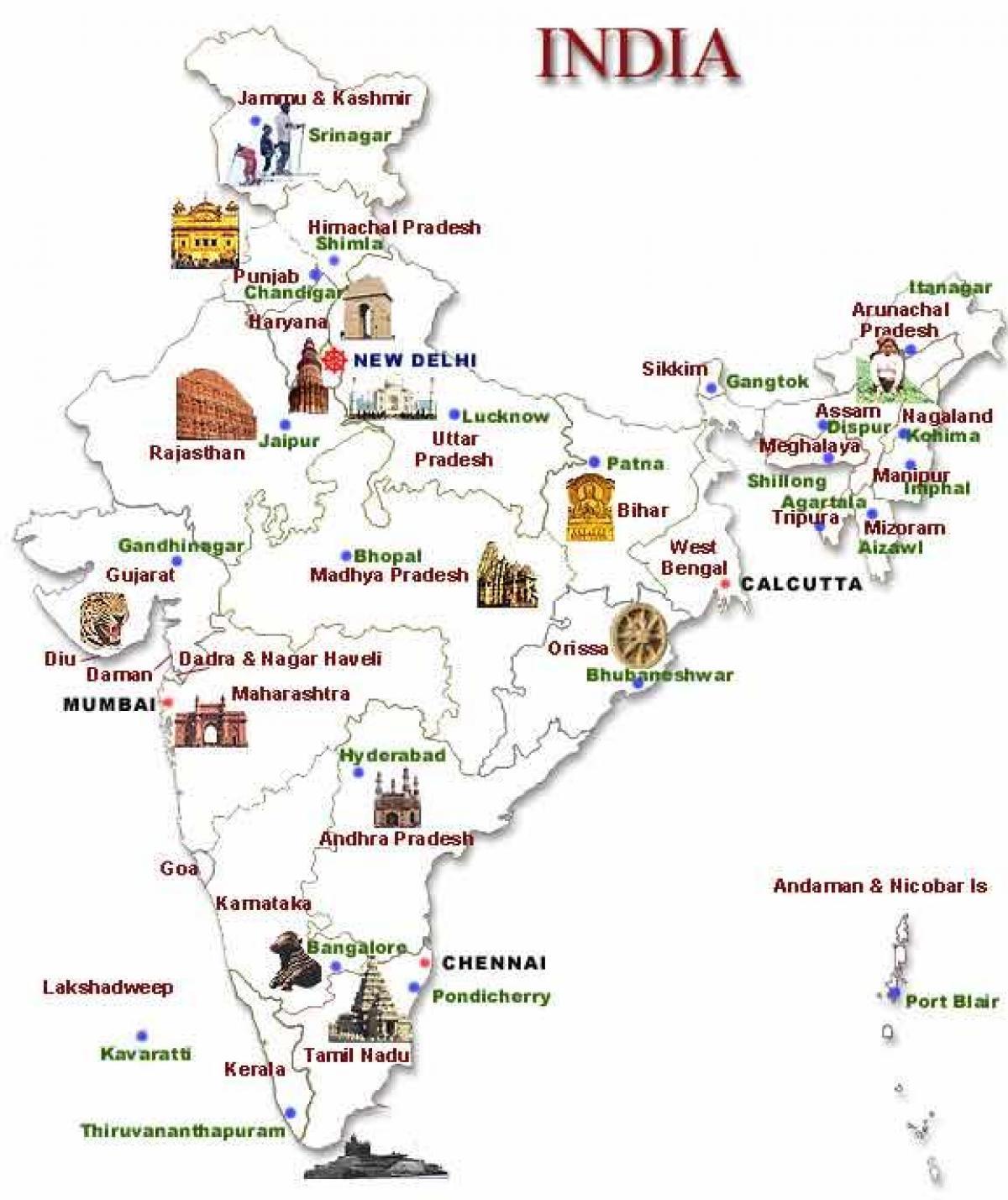 Carte Touristique De Linde Du Nord.Le Nord De L Inde Lieux Touristiques Carte Carte Du Nord